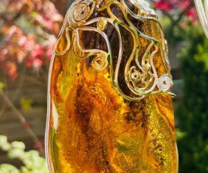 Wisior, bursztyn naturalny, srebro 925, złocone,waga 123,3g